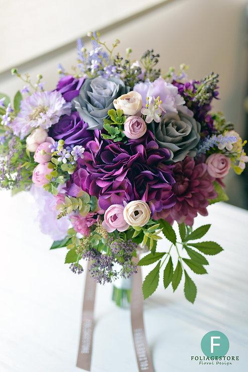玫瑰繡球絲花球 - 紫色 X 淺粉復古系列