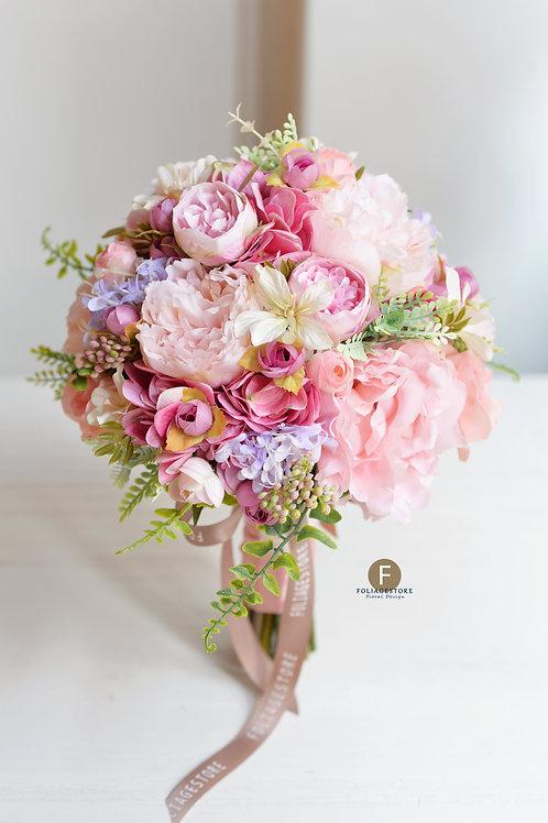 牡丹繡球庭園玫瑰絲花球 - 淺粉,桃粉,紫 系列