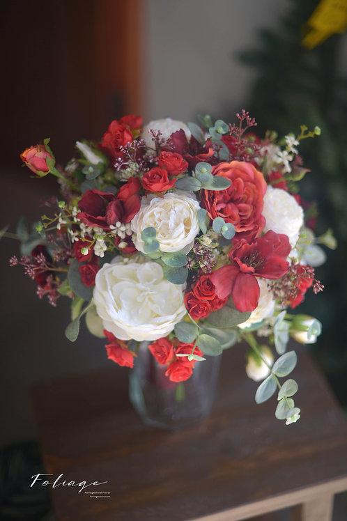 """庭園玫瑰牡丹絲花球 - 紅 X 白 10"""""""