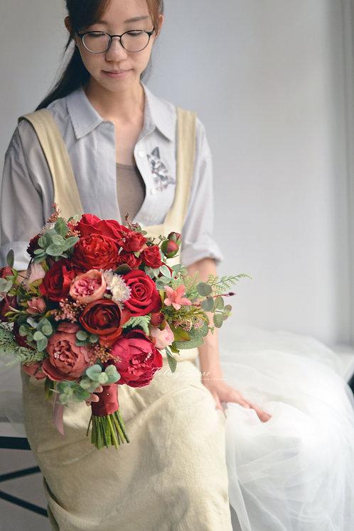 玫瑰牡丹絲花球 - 酒紅 系列