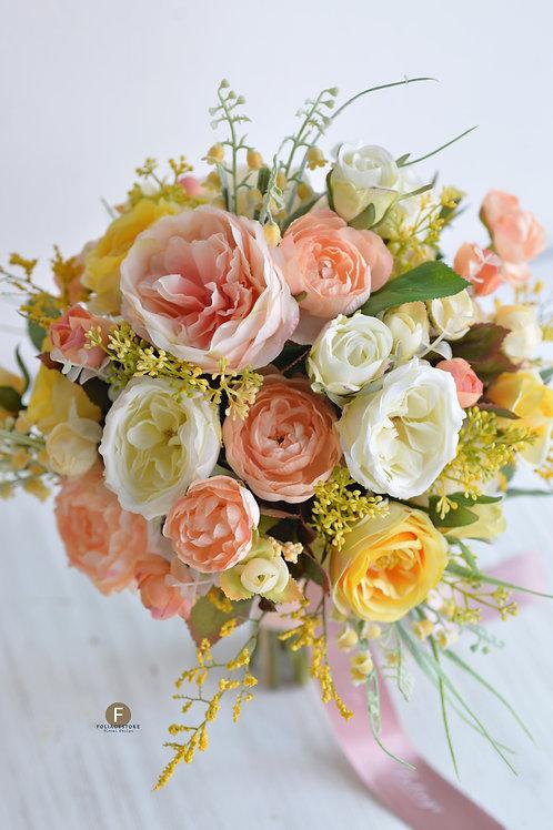 庭園玫瑰小牡丹絲花球 - 黃 X Peach系列