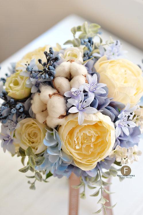 牡丹玫瑰絲花球 - 珍珠白 X 藍系列