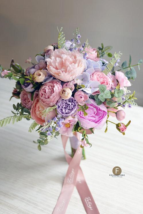 牡丹繡球絲花球 - 紫色 X 粉系列