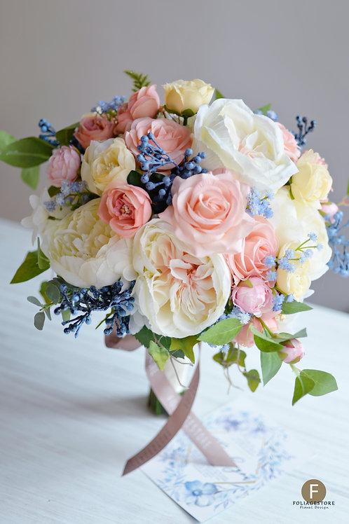 庭園玫瑰絲花球 - 粉橙 X 米白系列