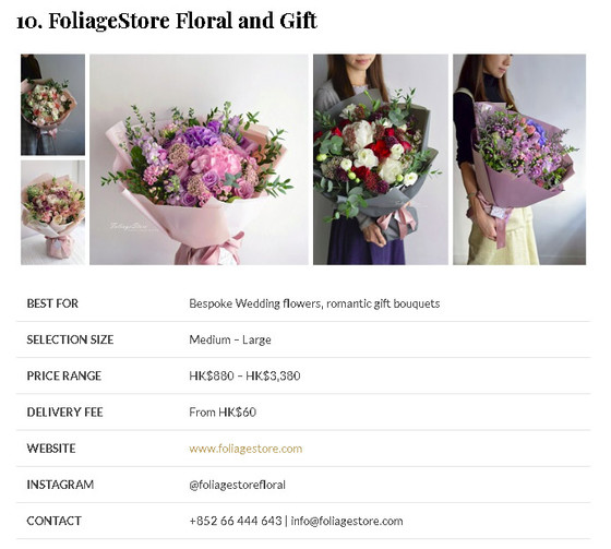We are Listed 12 Best Options for Flower Delivery in Hong Kong