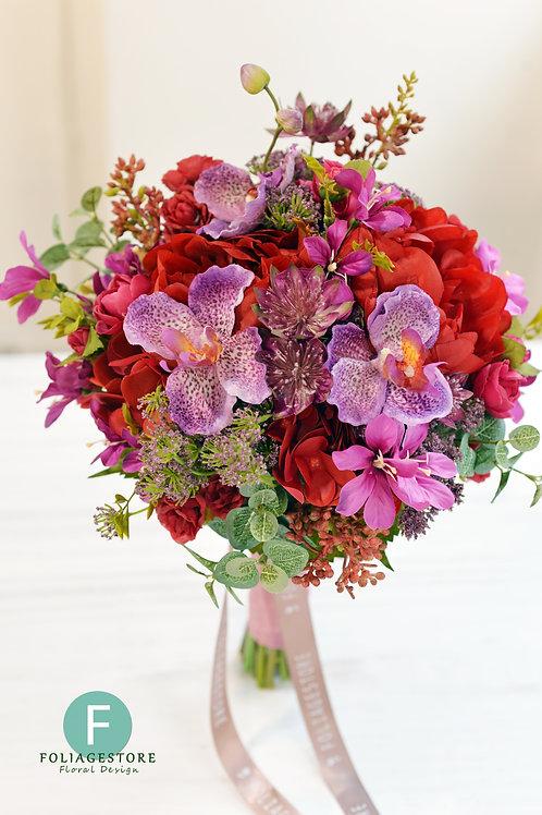牡丹萬代蘭絲花球 - 紫 X 酒紅系列