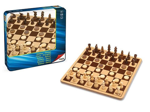 Chess and Checkers Board Cayro Wood.