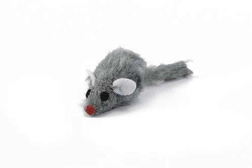 Beeztees Plush Mouse with short hair Grey  5cm