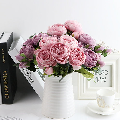 1 Bundle Silk Peony Bouquet Home Decoration Accessories Artificial Roses Flowers