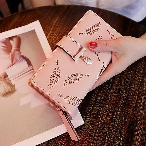 Women Wallet PU Leather Purse Female Long Wallet Gollow Leaves Pouch Handbag