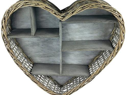 Wicker Heart Shelf Unit 52cm