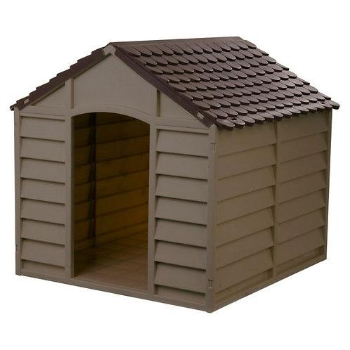 Large Heavy Duty Outdoor Waterproof Dog House in Brown Polypropylene