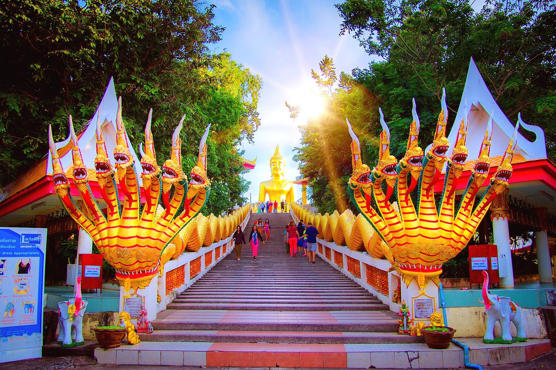 Wat Phra Yai Outside Stairs