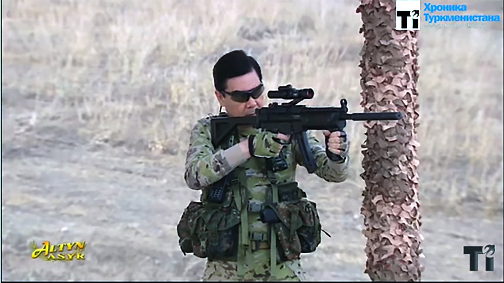 Turkmen Leader Shooting Gun