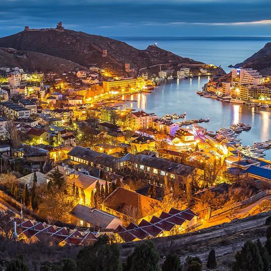 City View of Yalta at night