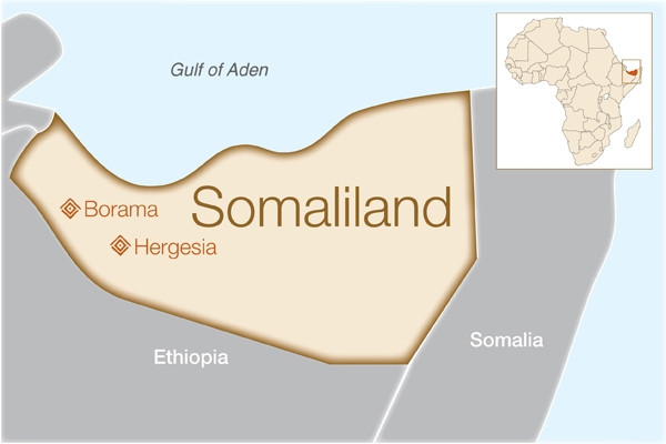 Map of the Unrecognized Country of Somaliland in the Horn of Africa
