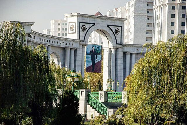 Picture of the Leader in Ashgabat, Turkmenistan