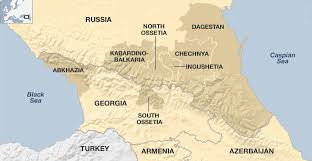 Map of Chechnya, Dagestan and Ingushetia