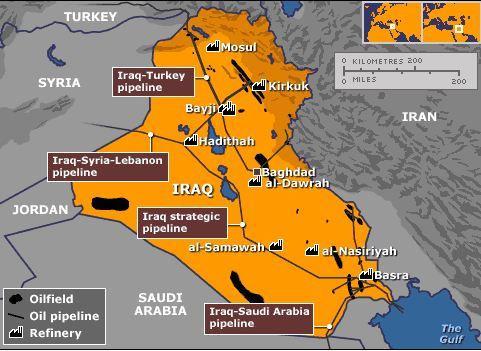 Oil map of Iraq and Kirkuk