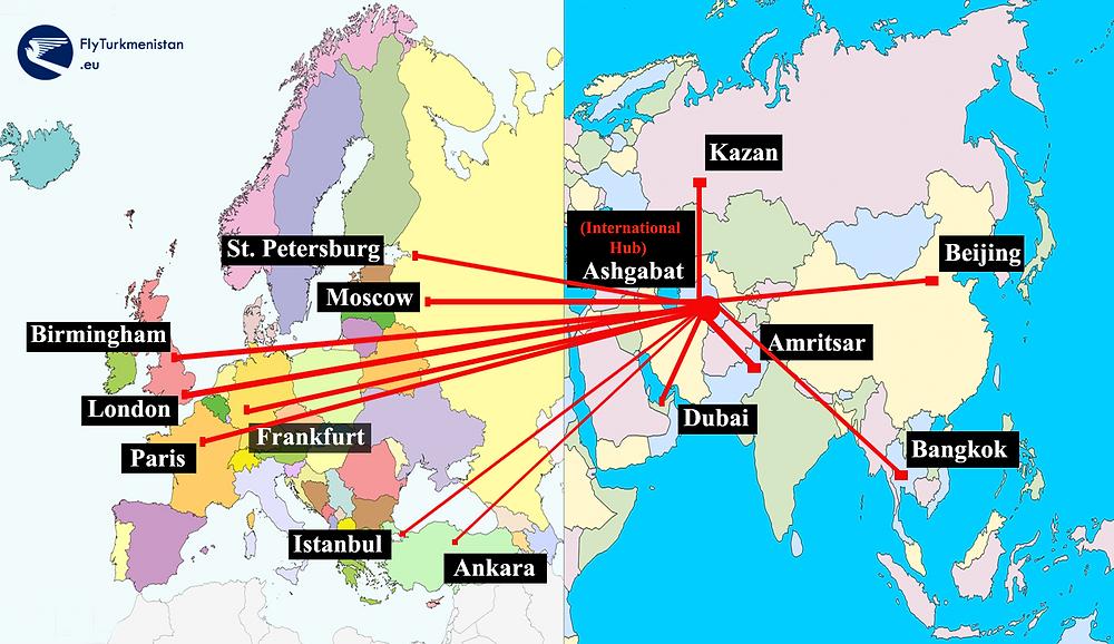 Turkmenistan Airlines Map