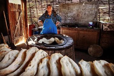 Woman Baking Bread in South Ossetia