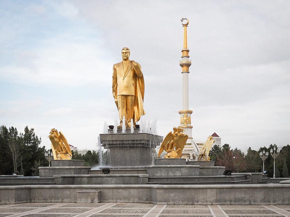 Niyazov statue in Ashgabat Turkmenistan