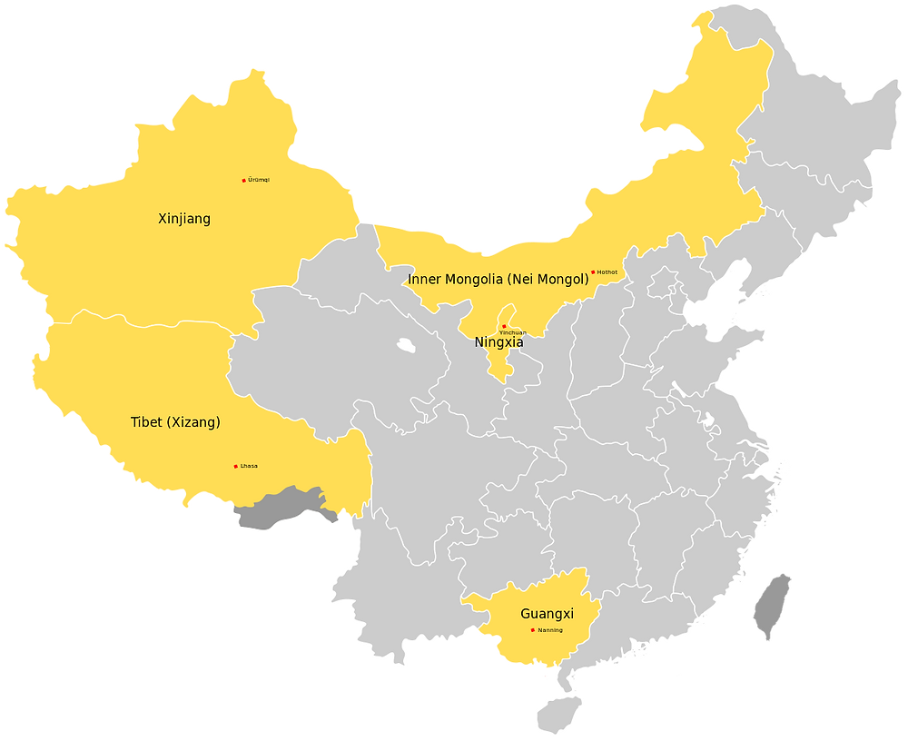 Map of China's Autonomous Region