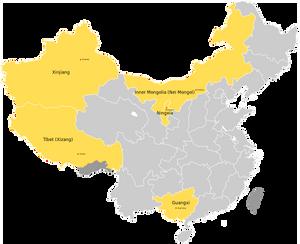 Map of China's Autonomous Region