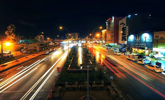 Erbil street at night