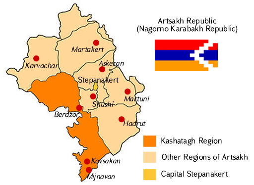 Map of the Republic of Artsakh