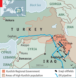 Kurdish oil pipeline map