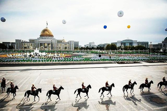 Independence square in Ashgabat, the capital of Turkmenistan