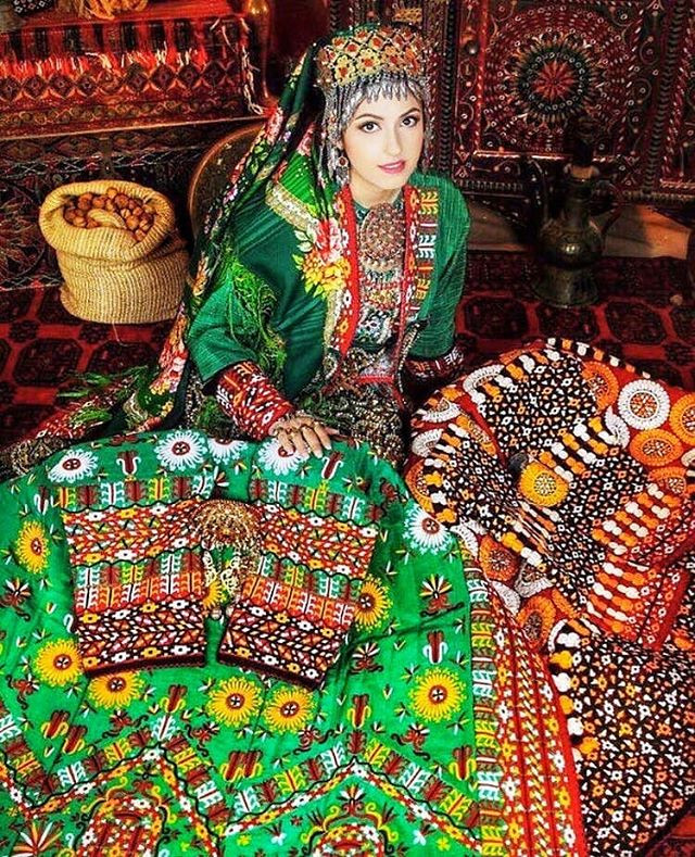 Woman in Traditional Turkmen Dress