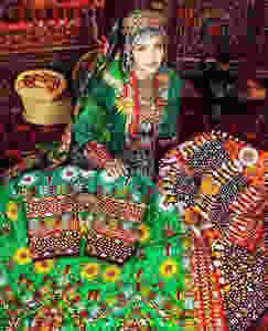 Woman in Traditional Turkmen Dress