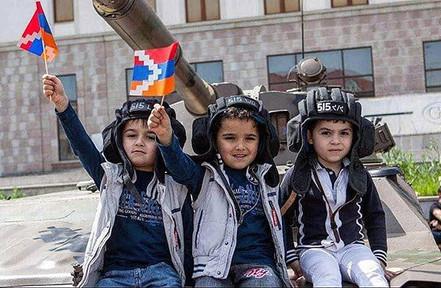 Children Holding Artsakh Flags