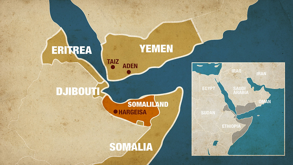 Yemen and Somaliland on the map