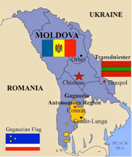 Map of Gagauzia, Moldova and Transnistria