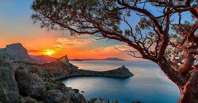 Sunset over the Black Sea in Crimea