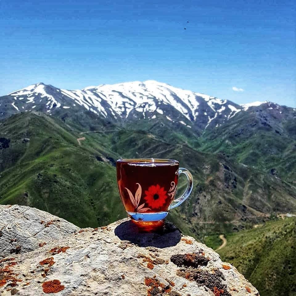 Kurdish tea and lanscape in Kurdistan