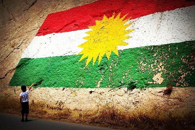 Child Pointing at Kurdish Flag