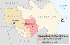 Map of Artsakh, Armenia and Azerbaijan