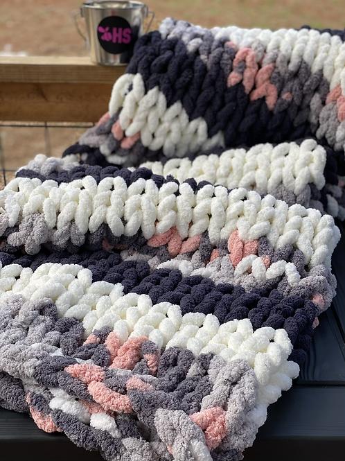 Chenille- Throw Blanket (Ivory, Charcoal, & Blush Gray Cream)