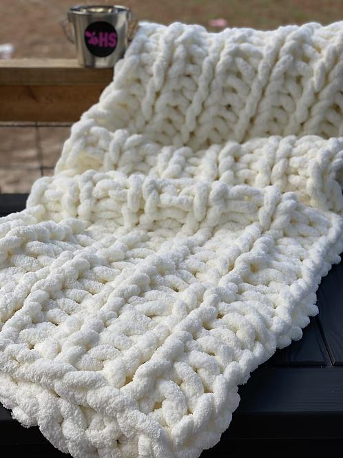 Chenille- Throw Blanket (Ivory)