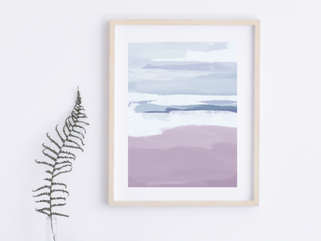 Printable Blue and Lavender Abstract Art Print
