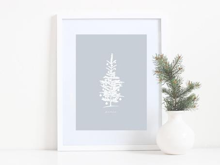 Printable Christmas Tree Sketch Art Print