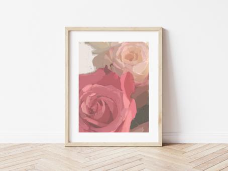 Free Printable Impressionistic Roses Art Print