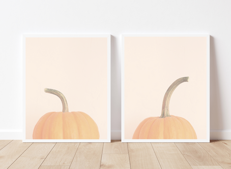 Light and Airy, Whimsical Pumpkin Photography Art Prints