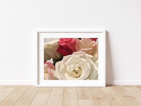 Free Printable Impressionistic Roses II Art Print