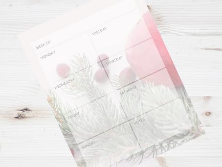 Free Printable Weekly Calendar for December
