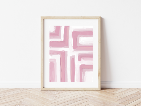 Free Printable Pink Geometric Abstract Art Print